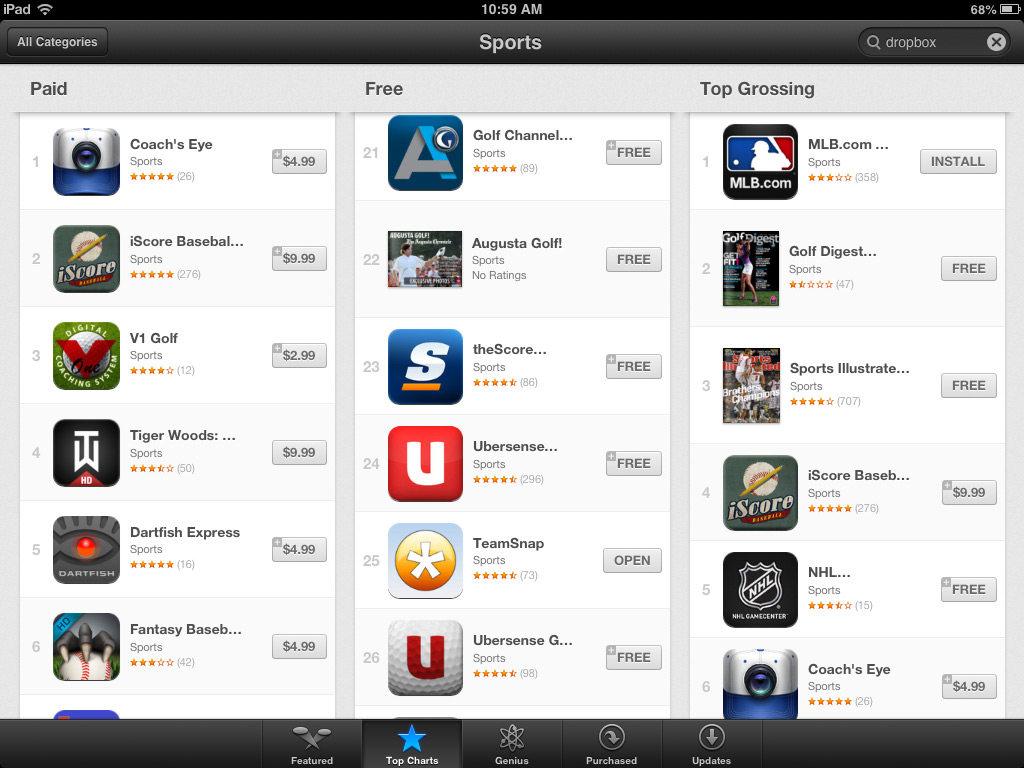 TeamSnap iPad App Top 25 on iTunes