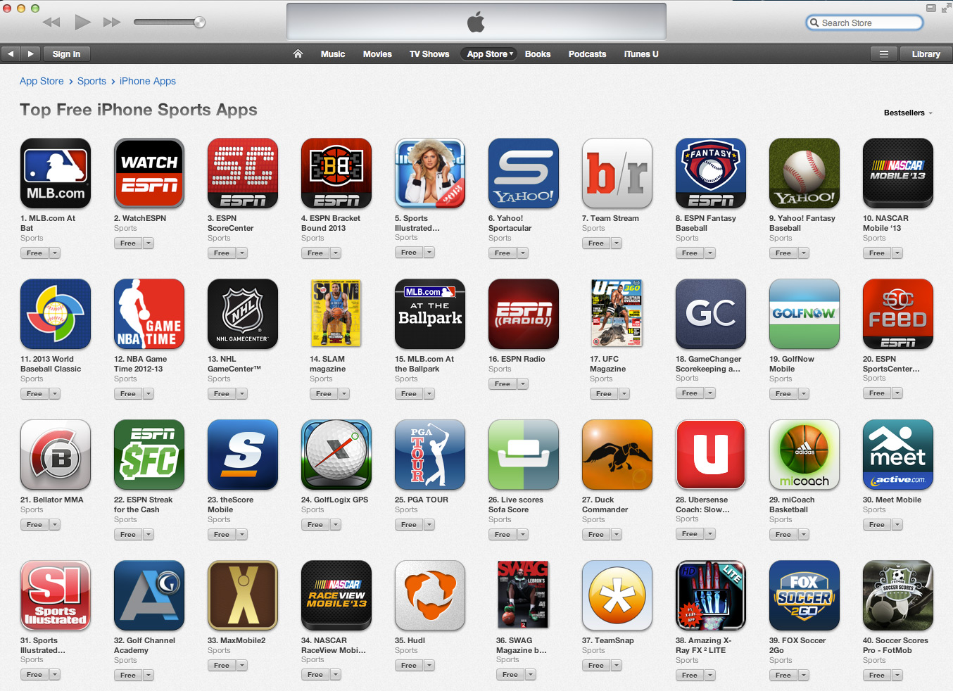 Teamsnap mobile app in itunes top 40 list for Iphone picture apps free